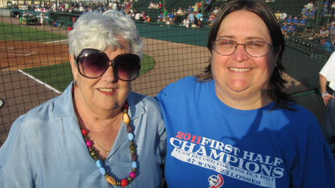 Pat Drosten (right), who sports a team tatoo, with fellow season ticket holder Faye Harris.